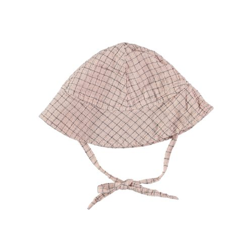 Coquille Check Baby Hat Pale Rose