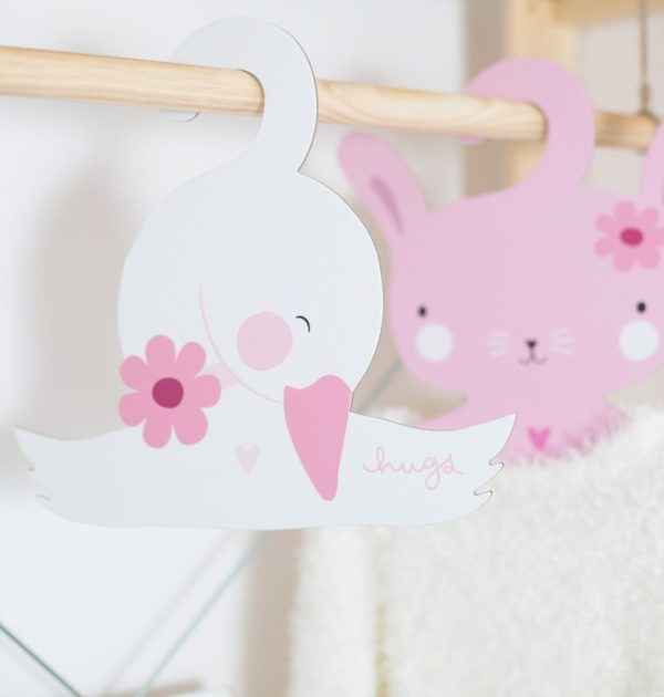 A Little Lovely Company Coat Hanger Set Bunny And Swan 3