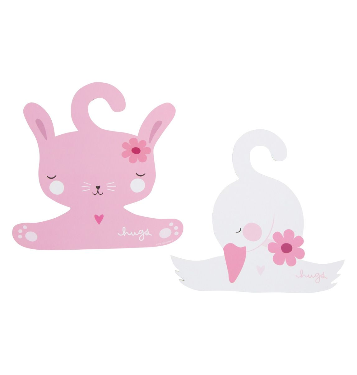 A Little Lovely Company Coat Hanger Set Bunny And Swan