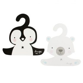 A Little Lovely Company Coat Hanger Set Penguin And Polar Bear