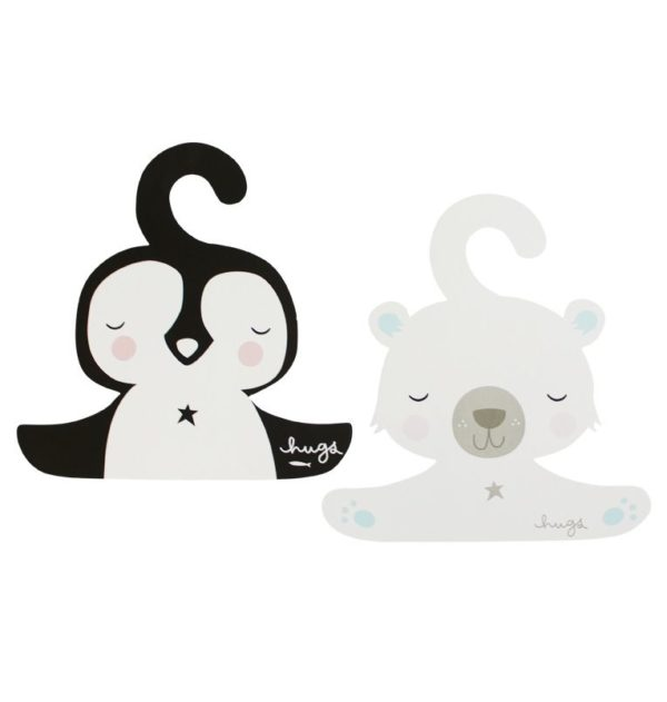 A Little Lovely Company Coat Hanger Set Penguin And Polar Bear 1