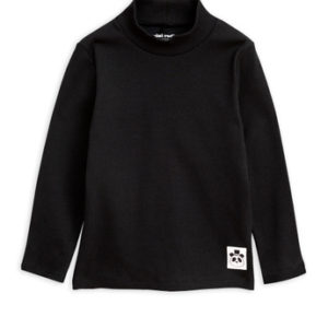 Solid Rib Turtleneck Ls Tee Black