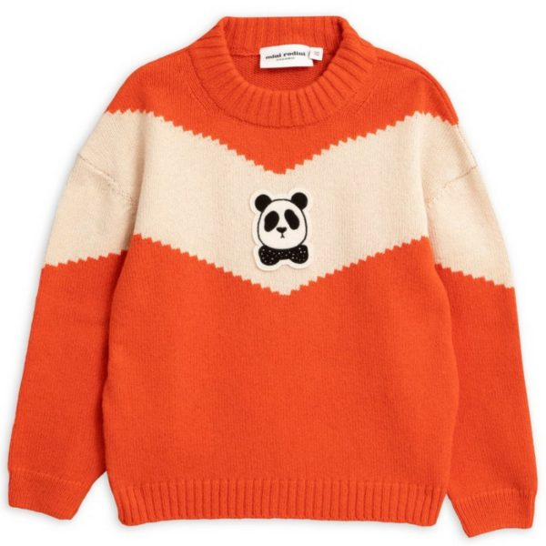 Mini Rodini Panda Knitted Wool Sweater Red