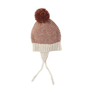 Yaki Stripes Knit Pom Pom Hat Ecru