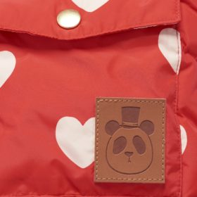 Mini Rodini Hearts Pico Puffer Jacket Red Detail 1