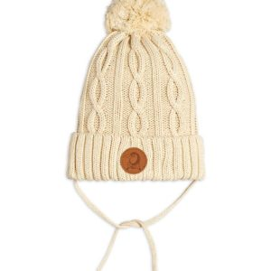 Cable Knitted Pompom Hat Offwhite