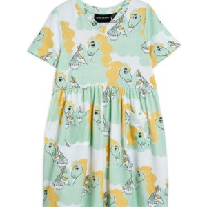 Unicorn Noodles AOP Short Sleeve Dress Green